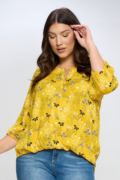 Curvy 3/4 Sleeve Floral Print Top