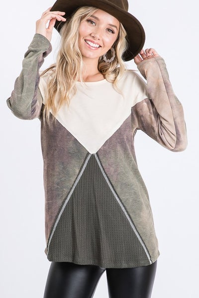 Olive Color Block Long Sleeve