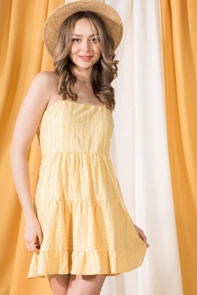 Tiered Ruffle Textured Cami Dress