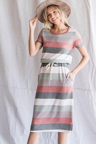 Striped Drawstring Wasit Dress