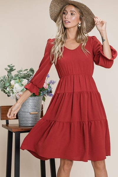 3/4 Sleeve Tiered Dress