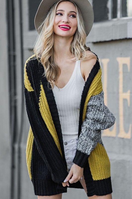 Oversized Colorblock Knit Cardigan