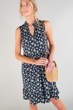 Ruffled Floral Sleeveless Tiered Dress