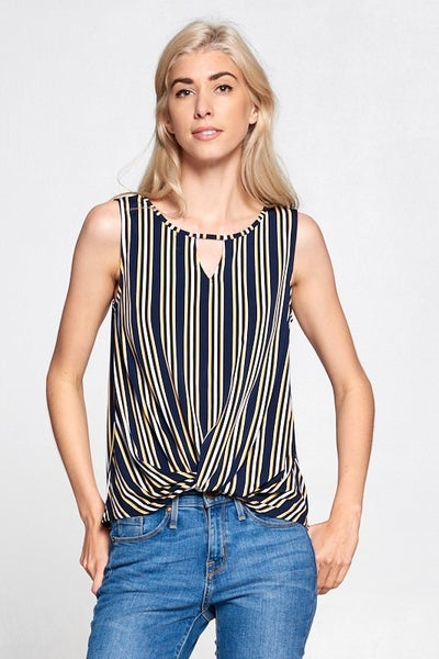 Stripe Knit Twist Tank