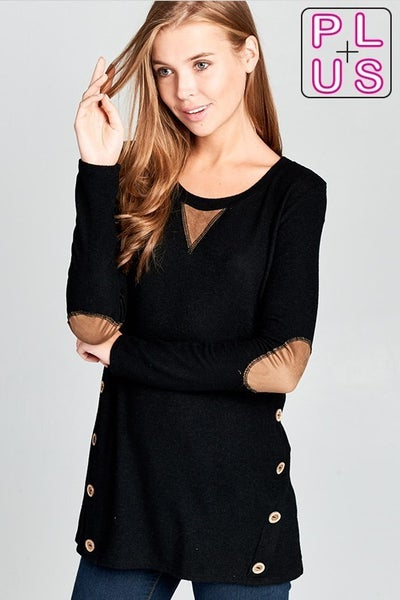 Curvy Brushed Knit Top with Button and Suede Detailing