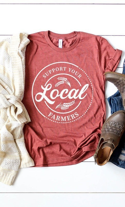 Curvy Support Your Local Farmers Graphic Tee