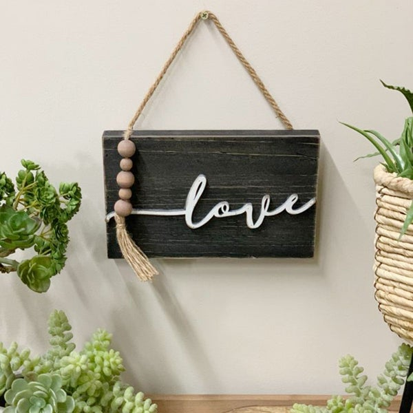 Wood Love Sign with Beaded Embellishments