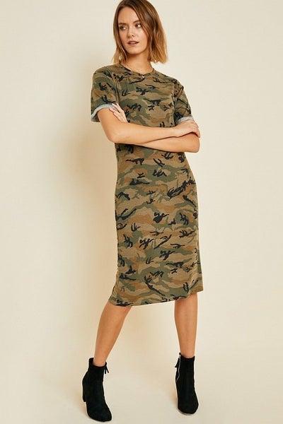 Camouflage midi t shirt dress