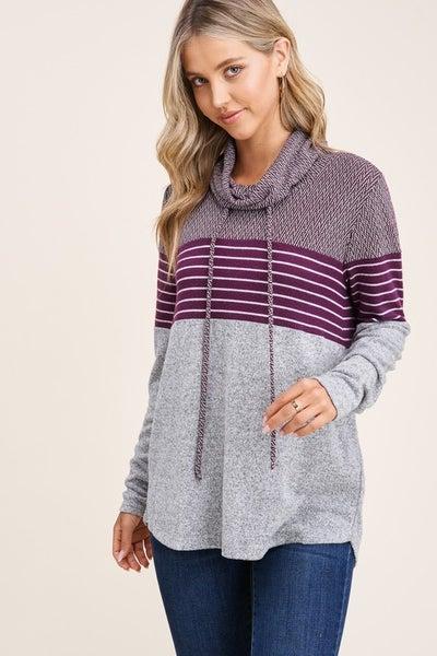 Drawstring Cowl Neck Color Block Sweater