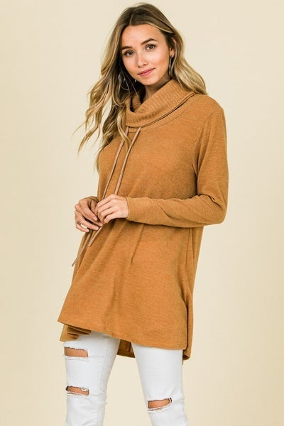 Cowl Neck Top with Suede Straps