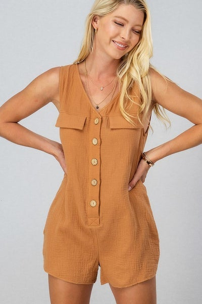 Button Down Romper with Pockets