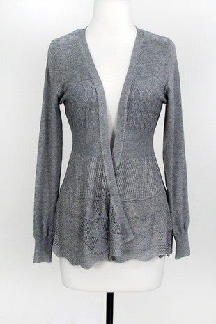 Open cardigan with pointelle detail