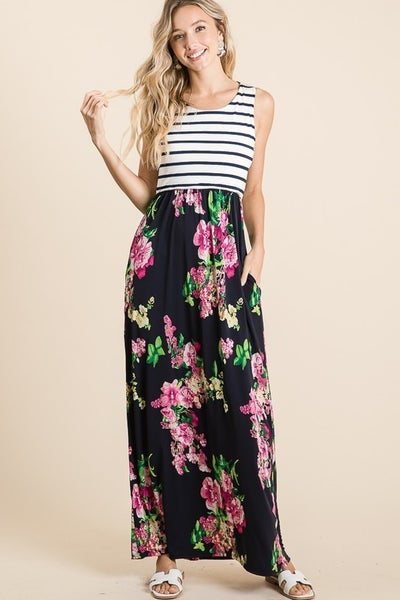 SLEEVELESS MAXI DRESS WITH STRIPE TOP AND FLORAL PRINT SKIRT