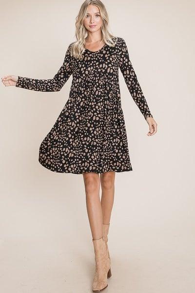 Long Sleeve Animal Print Dress