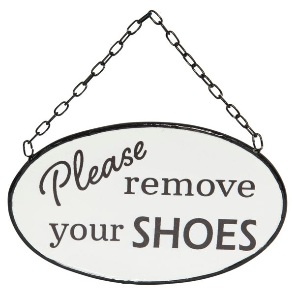 Please Remove your Shoes Hanging Enamelware Sign