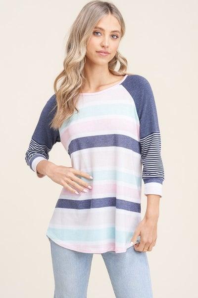 Multi-colored 3Q Length Sleeve