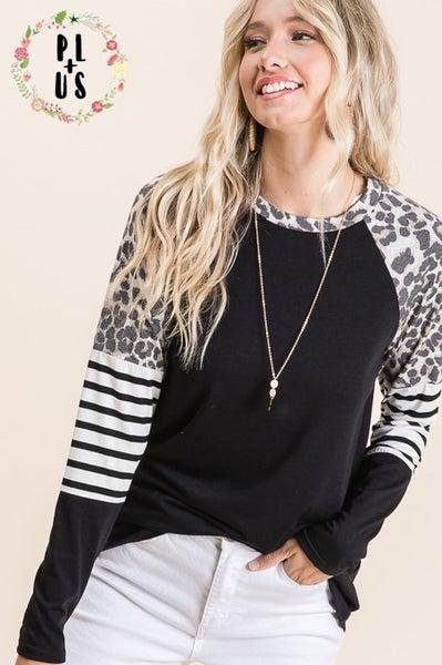 Curvy Knit Color Block Top