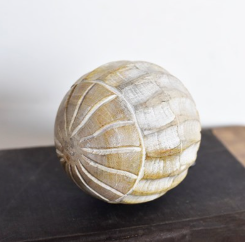 """4"""" CARVED WOOD BALL"""
