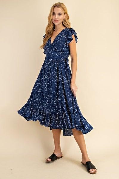 Ruffled Polka Dot Midi Dress