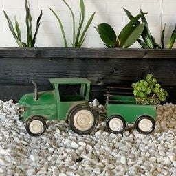 Decorative Metal Tractor and Trailer Planter