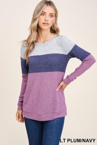 Boat Neck Color Block Sweater