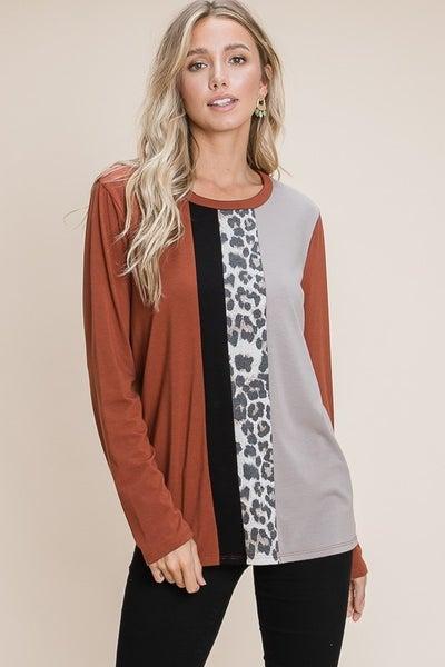 Leopard Print Color Block Long Sleeve