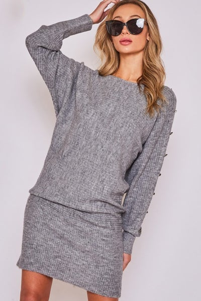 SOLID BANDED WAIST RIBBED KNIT TUNIC
