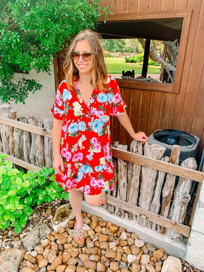 Red Mix Floral Dress