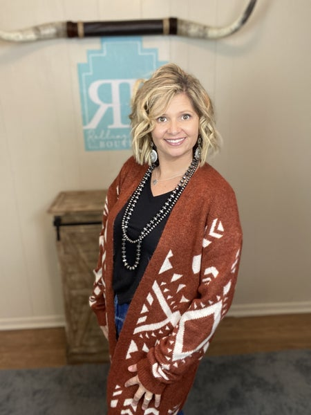 Brick Aztec Cardigan Sweater | Small to Large