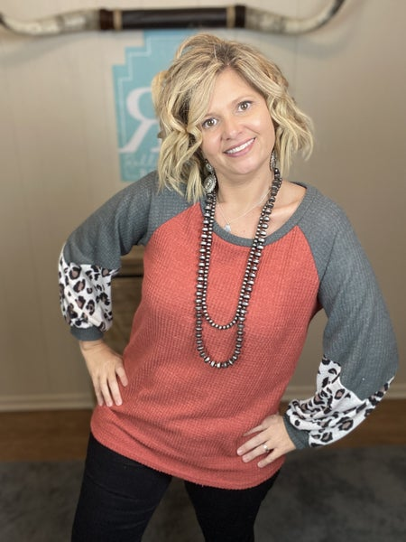 Rust and Leopard Waffle Pullover | Small to Large