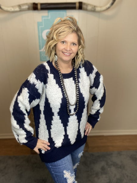 Navy and White Aztec Sweater | Small to XL