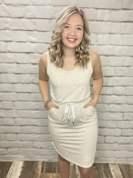 Oatmeal Scoop Neck Knee Length Dress with Elastic Waist Band