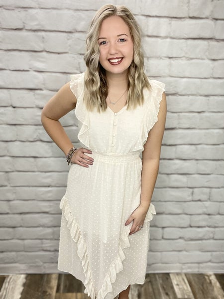 Cream Sleeveless Dot Detail Dress