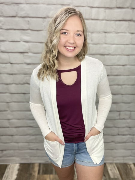 Ivory Sadie Cardigan with Pockets & Button Details