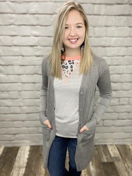Stella Heather Grey Long Sleeve Button Cardigan