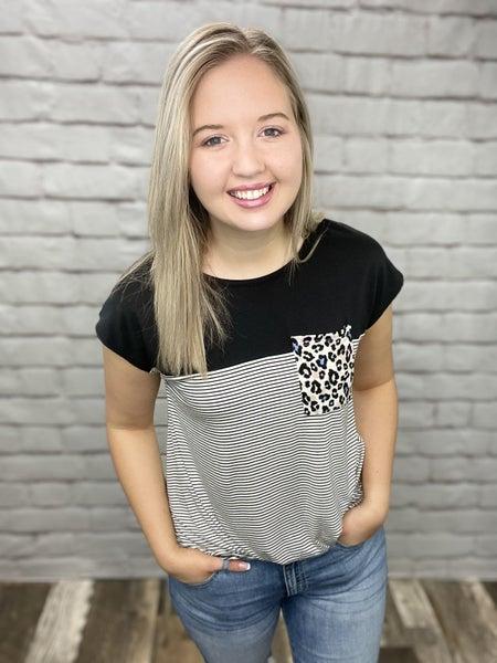 Black & Stripe Combo with Leopard Pocket Top