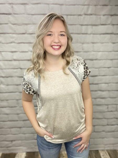 Oatmeal & Leopard Colorblock Short Sleeve Top
