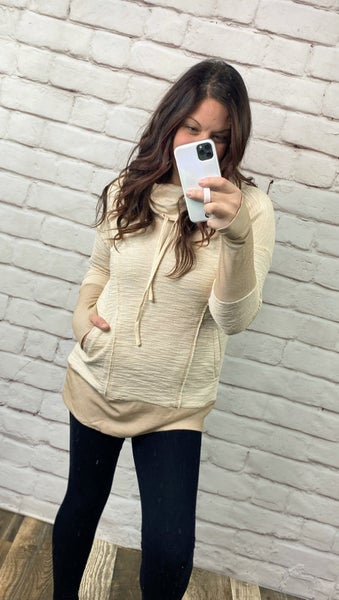 Taupe Cowl Neck Tunic with Pockets