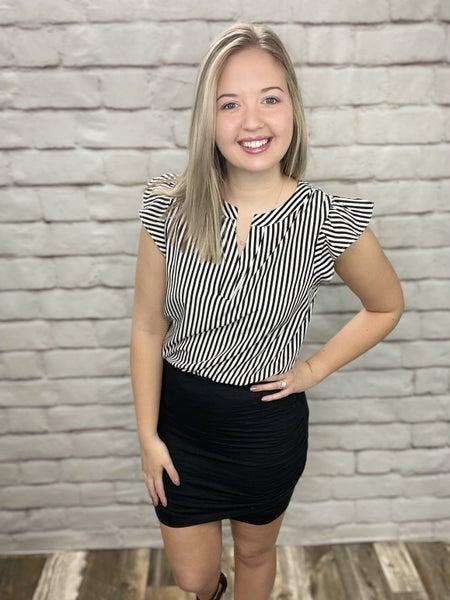 Black Side Ruched Skirt