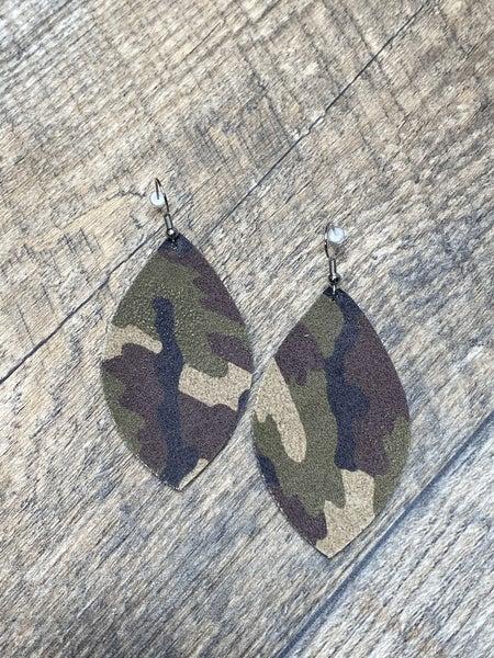 Camo Leather Earrings