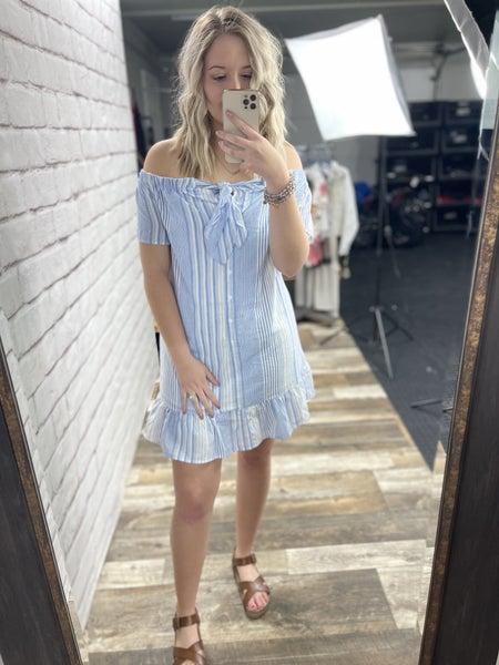 Blue & White Striped Off-The-Shoulder Dress