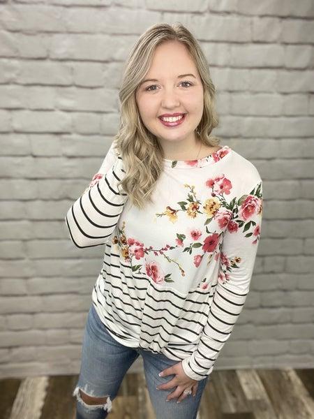 Ivory Stripe & Floral Color Block Long Sleeve Top