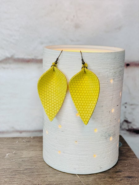Yellow Honey Comb Pinched Leather Earrings