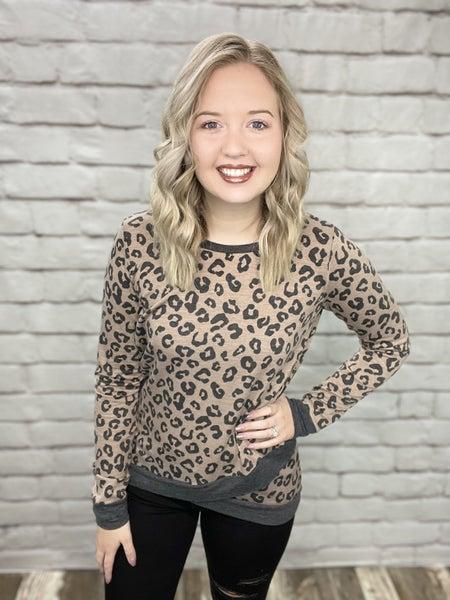 Leopard Print Long Sleeve Top with Cross Over Hem