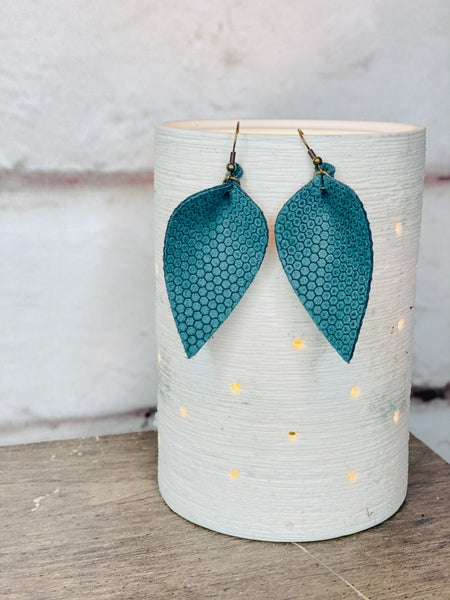 Sage Green Honey Comb Print Leather Earrings
