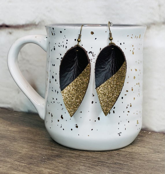 Brown & Gold Dip Pinched Leather Earrings