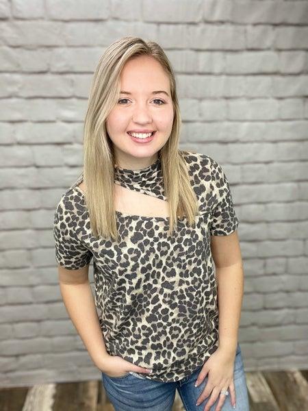 Tan Leopard Print Short Sleeve Top with Cutout Detail