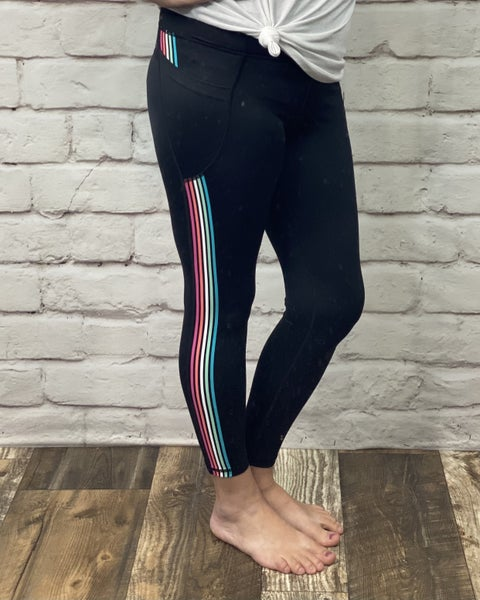 Black 7/8 Leggings with Rainbow Stripes and Pockets