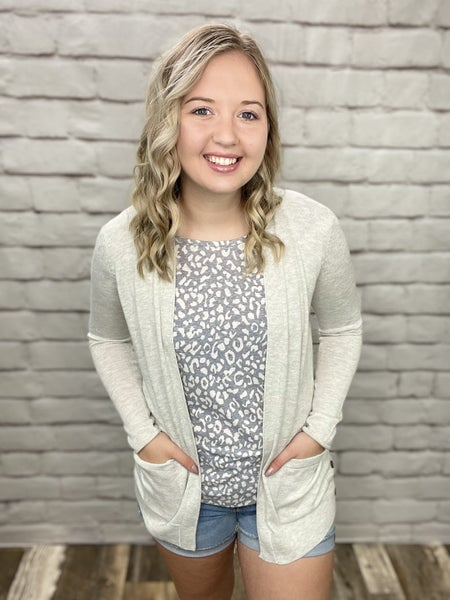 Light Grey Sadie Cardigan with Pockets & Button Details