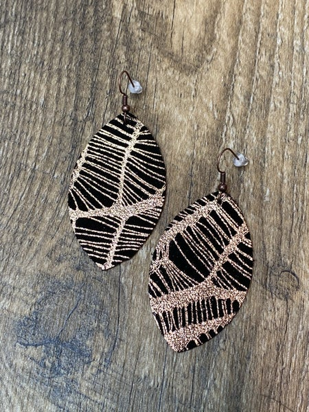 Black & Gold Webbed Leather Earrings